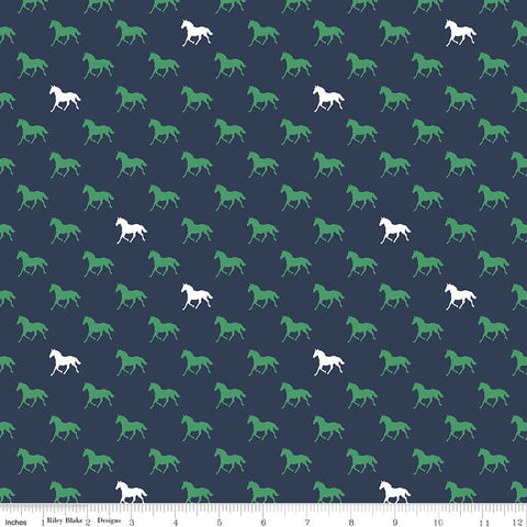 Derby Day Horses Green on Navy Blue - Riley Blake Designs - Quilting Cotton Fabric - fat quarter