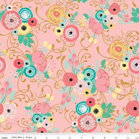 Just Sayin' Main Pink SPARKLE - Riley Blake Designs - Floral Gold Metallic - Quilting Cotton Fabric - choose your cut
