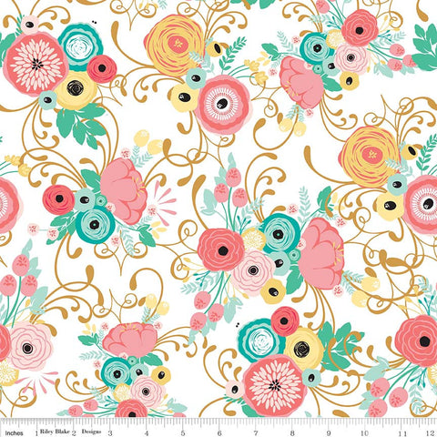 Just Sayin' Main White SPARKLE - Riley Blake Designs - Floral Gold Metallic - Quilting Cotton Fabric - choose your cut