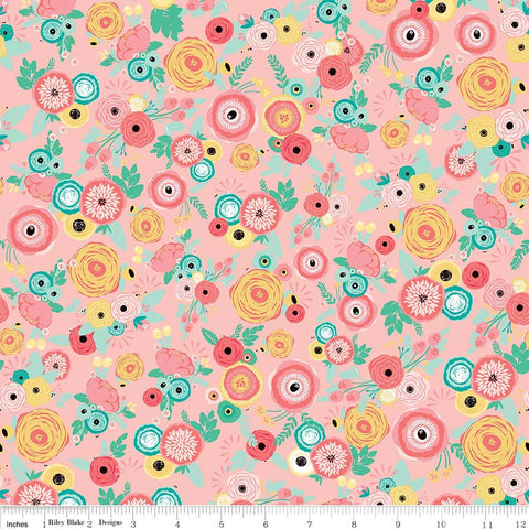 Just Sayin' Floral Pink - Riley Blake Designs - Flowers - Quilting Cotton Fabric - choose your cut