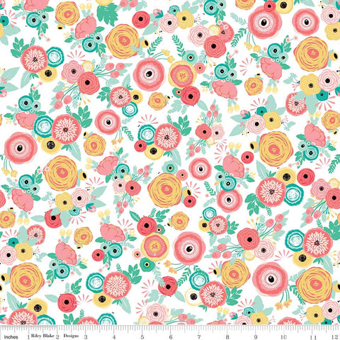 Just Sayin' Floral White - Riley Blake Designs - Flowers - Quilting Cotton Fabric - choose your cut