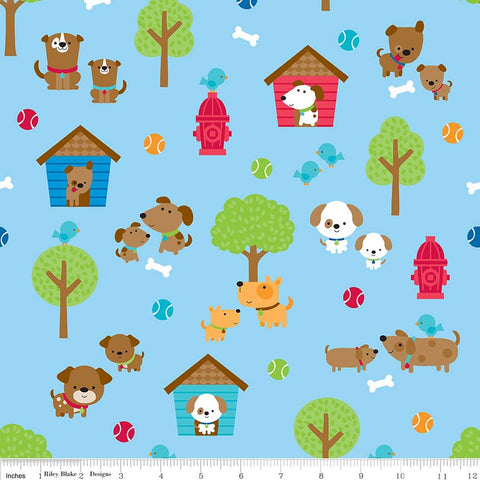 Puppy Love Main Blue - Riley Blake Designs - Dogs Pets Trees - Quilting Cotton Fabric - choose your cut