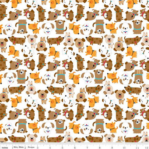 SALE Puppy Love White - Riley Blake Designs - Brown Dogs Pets Animals - Quilting Cotton Fabric - choose your cut