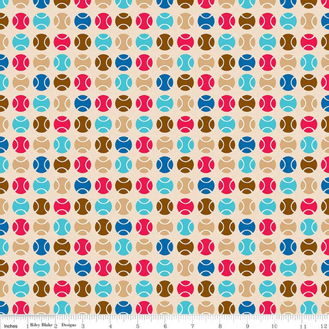 "SALE Puppy Love Dots Tan - Riley Blake Designs - Brown Balls Sports Games - Quilting Cotton Fabric - 1 yard 4"" end of bolt piece"