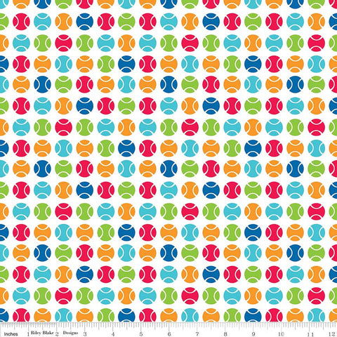 Puppy Love Dots White - Riley Blake Designs - Balls Sports Games - Quilting Cotton Fabric - choose your cut