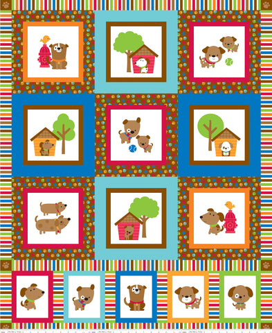SALE Puppy Love Panel Aqua - Riley Blake Designs - Blue Dogs Pets - Quilting Cotton Fabric