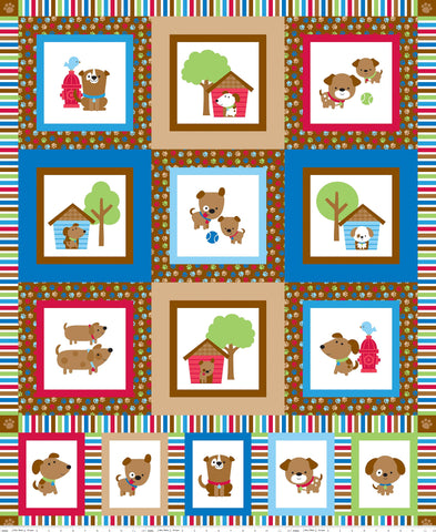 Puppy Love Panel Red - Riley Blake Designs - Blue Dogs Pets - Quilting Cotton Fabric