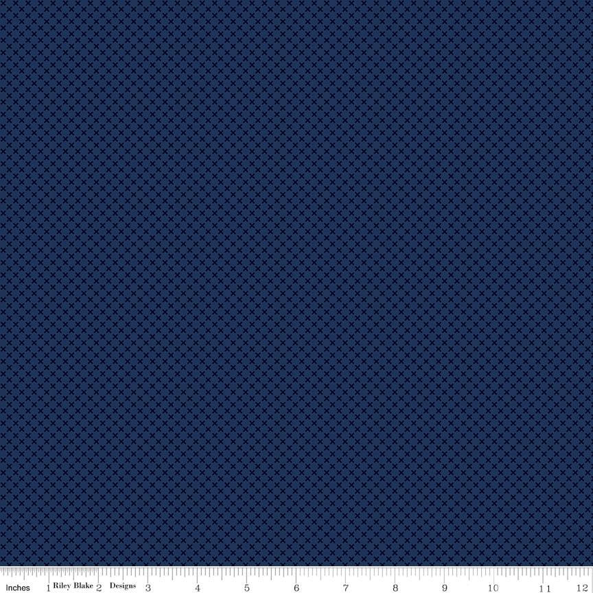 Navy Blue Kisses Tone on Tone by Riley Blake Designs - Basic Coordinate - Quilting Cotton Fabric