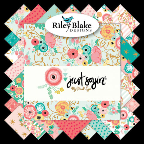 SALE Just Sayin' Fat Quarter Bundle 18 pieces - Riley Blake Designs - Pre Cut Precut Gold Sparkle Floral Deer - Quilting Cotton Fabric
