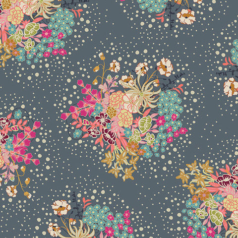 SALE Indie Folk Powder Bloom - Gray Floral Flowers - Art Gallery - Jersey KNIT cotton lycra stretch fabric - choose your cut