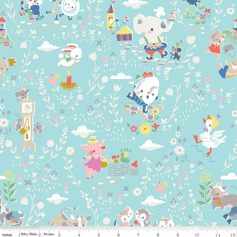 Once Upon A Rhyme Main Aqua - Riley Blake Designs - Jill Howarth - Blue Nursery Rhymes - Quilting Cotton Fabric - choose your cut