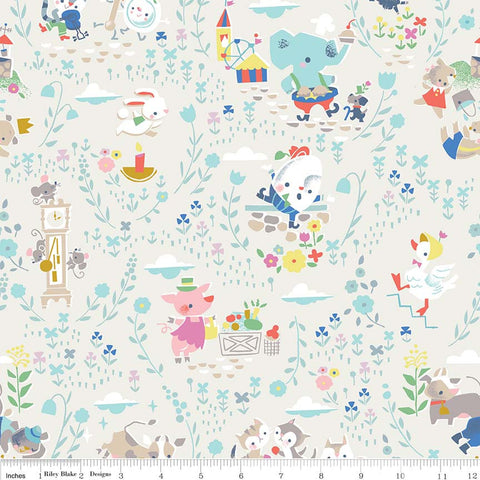 Once Upon A Rhyme Main Cream - Riley Blake Designs - Jill Howarth - Off White Nursery Rhymes - Quilting Cotton Fabric - choose your cut