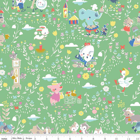 Once Upon A Rhyme Main Green - Riley Blake Designs - Jill Howarth - Nursery Rhymes - Quilting Cotton Fabric - choose your cut