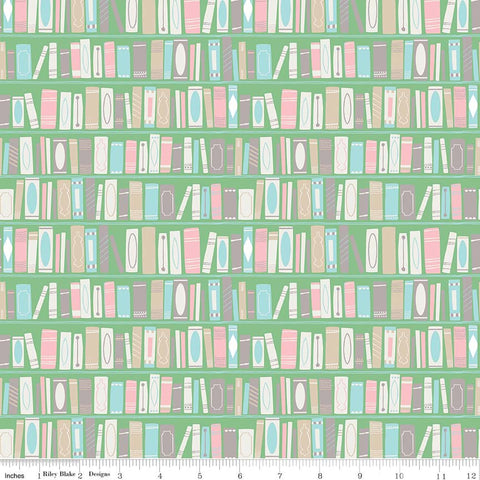 Once Upon A Rhyme Book Green - Riley Blake Designs - Jill Howarth - Books Nursery Rhymes - Quilting Cotton Fabric - choose your cut