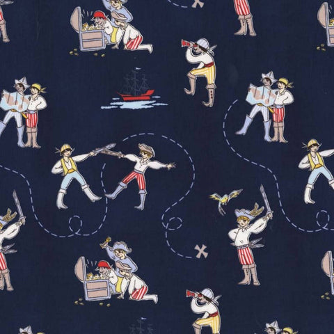 A Pirate's Life Navy by Michael Miller - Blue Ocean - Quilting Cotton Fabric - choose your cut