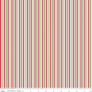 SALE Christmas Stripe Eighth Inch - Riley Blake Designs - Red Green White Holiday - Quilting Cotton Fabric