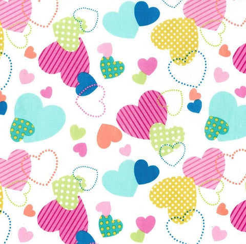 SALE La Dee Da Love Multi by Michael Miller - White Hearts Valentine Pink  - Quilting Cotton Fabric - choose your cut