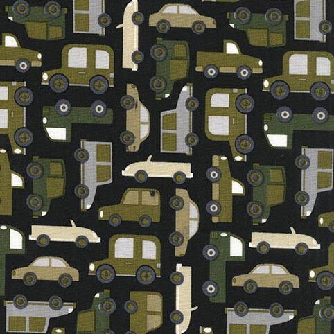 CLEARANCE Traffic Jam Black by Michael Miller - Cars Trucks Green - Quilting Cotton Fabric - by the yard