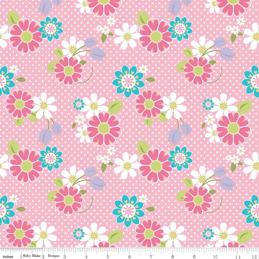 CLEARANCE Dream and a Wish Floral Pink by Riley Blake Designs - Flowers - Jersey KNIT cotton lycra spandex stretch fabric - by the yard