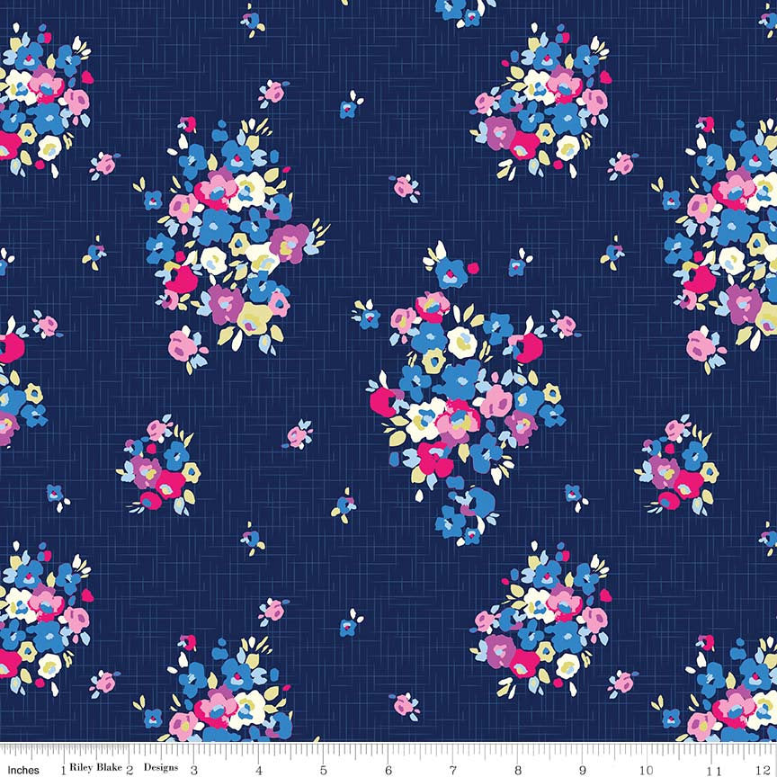 Blue Carolina Main Navy Blue - Riley Blake Designs - Floral Flowers - Jersey KNIT cotton lycra stretch fabric