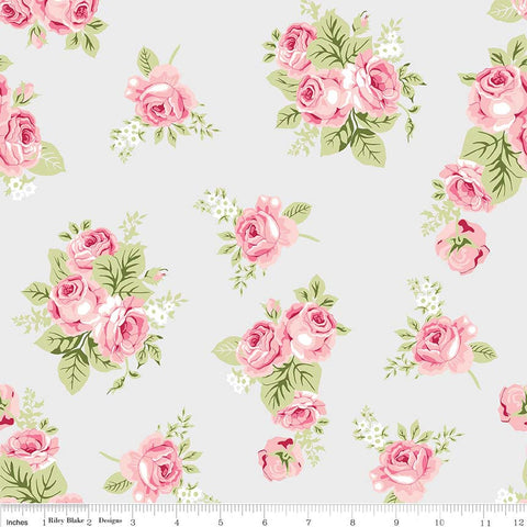 Love Story Main Gray - Riley Blake Designs - Floral Flowers Pink - Jersey KNIT cotton lycra stretch fabric