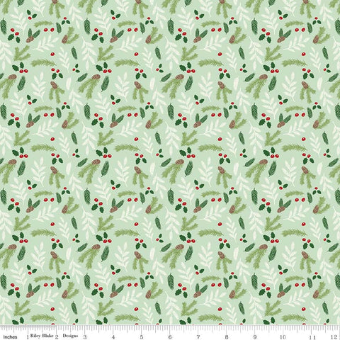 Comfort and Joy Floral Light Green by Riley Blake Designs - Christmas Holiday Holly - Quilting Cotton Fabric - choose your cut