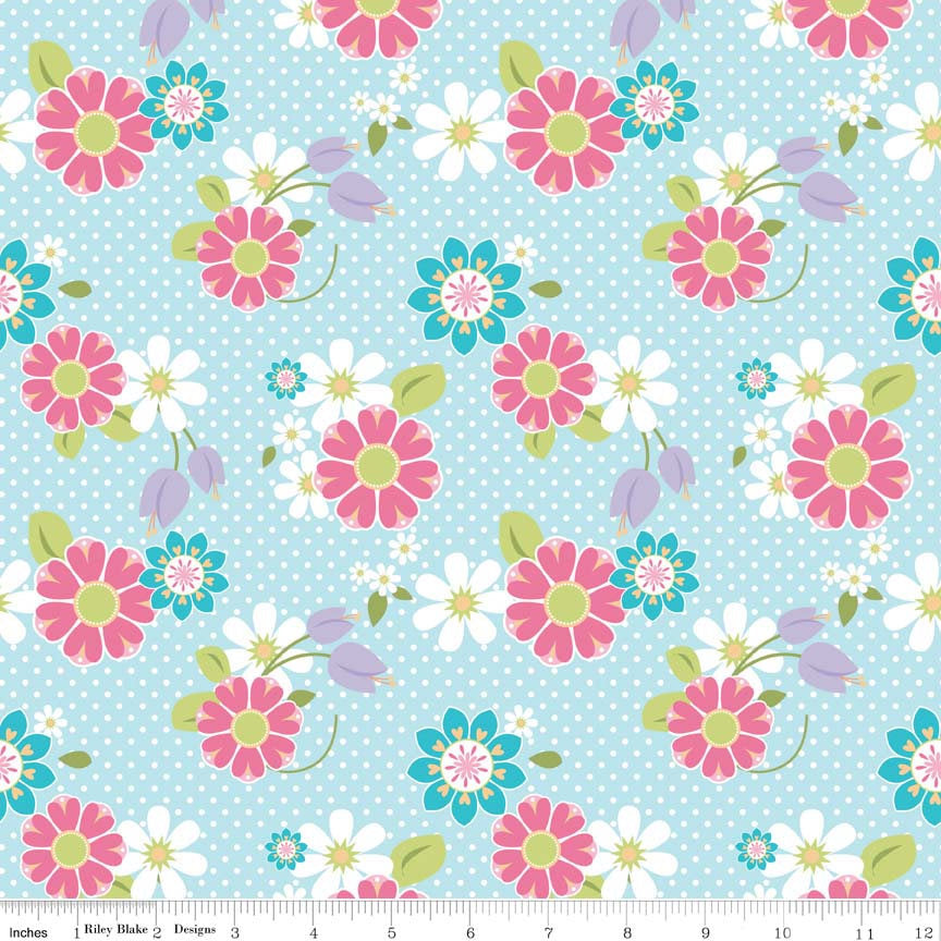 Dream and a Wish Floral Blue by Riley Blake Designs - Flowers - Jersey KNIT cotton lycra spandex stretch fabric - choose your cut