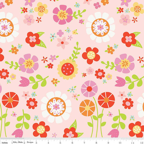 SALE Bloom Where You're Planted Main Pink - Riley Blake Designs - Floral Flowers - Quilting Cotton Fabric - choose your cut