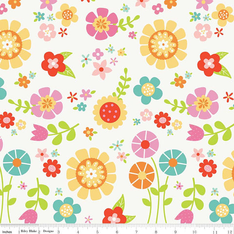 Bloom Where You're Planted Main White - Riley Blake Designs - Multi Floral Flowers - Quilting Cotton Fabric
