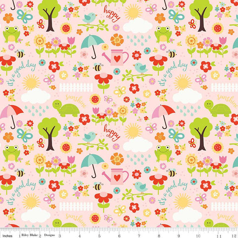 SALE Bloom Where You're Planted April Showers Pink - Riley Blake Designs - Frogs Flowers - Quilting Cotton Fabric