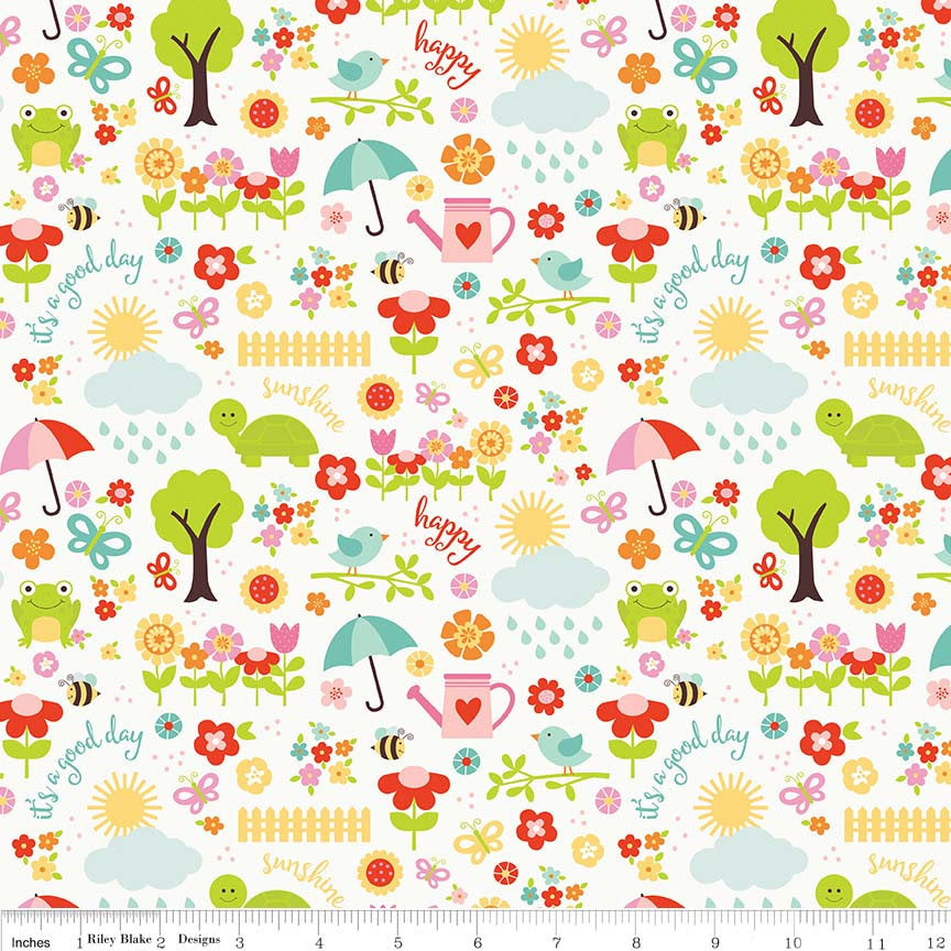 Bloom Where You're Planted April Showers White - Riley Blake Designs - Multi Frogs Flowers - Quilting Cotton Fabric