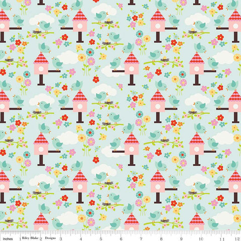 SALE Bloom Where You're Planted Birds Aqua - Riley Blake Designs - Blue Birdhouses - Quilting Cotton Fabric