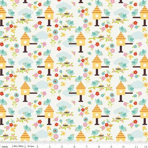 SALE Bloom Where You're Planted Birds White - Riley Blake Designs - Birdhouses - Quilting Cotton Fabric