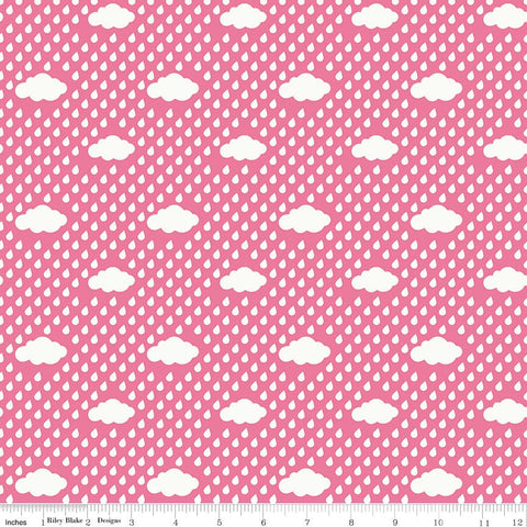 SALE Bloom Where You're Planted Rain Clouds Pink - Riley Blake Designs - White - Quilting Cotton Fabric