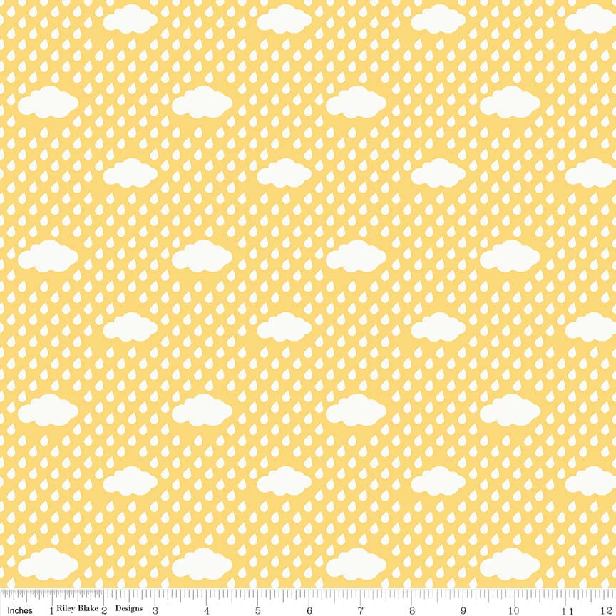 Bloom Where You're Planted Rain Clouds Yellow - Riley Blake Designs - White - Quilting Cotton Fabric