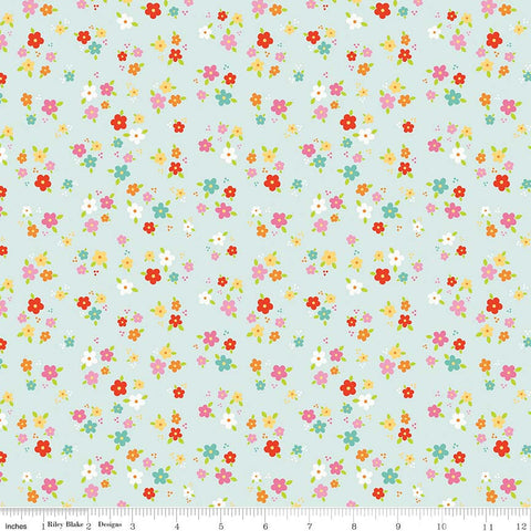 SALE Bloom Where You're Planted Floral Aqua - Riley Blake Designs - Blue Flowers - Quilting Cotton Fabric - choose your cut