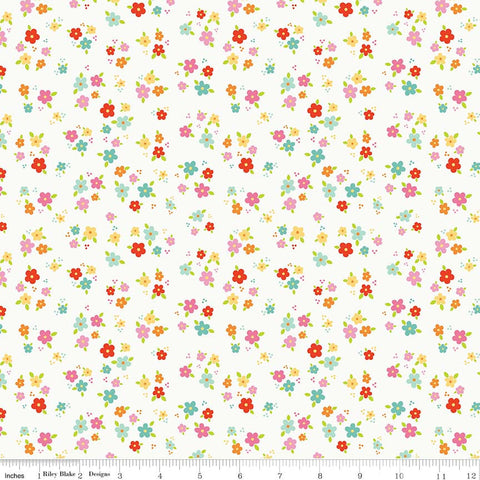 SALE Bloom Where You're Planted Floral White - Riley Blake Designs - Flowers - Quilting Cotton Fabric - choose your cut