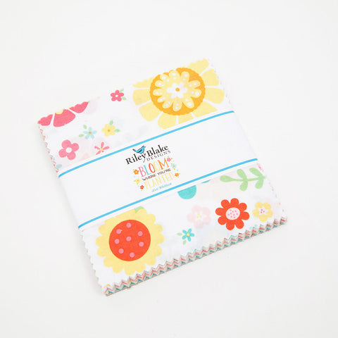 "Bloom Where You're Planted Charm Pack 5"" Stacker Bundle - Riley Blake Designs - 42 piece Precut Pre cut - Birds -Quilting Cotton Fabric"