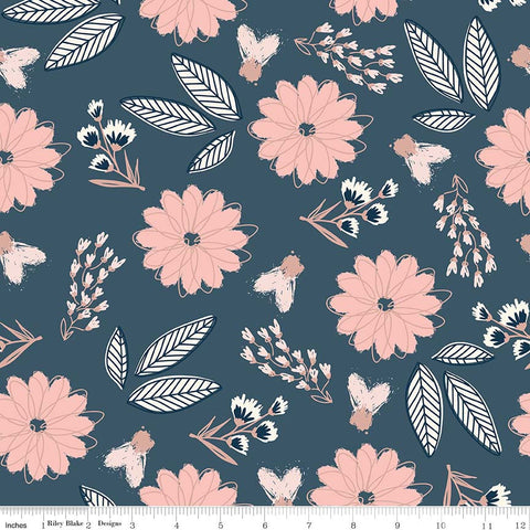 Blush Main Blue SPARKLE - Riley Blake Designs - Rose Gold Floral Flowers Pink Navy Metallic - Quilting Cotton Fabric - choose your cut