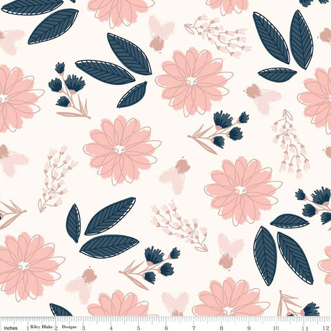 SALE Blush Main Cream SPARKLE - Riley Blake Designs - Rose Gold Floral Flowers Pink Navy Metallic - Quilting Cotton Fabric - choose your cut