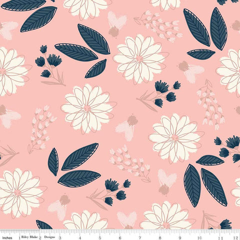 SALE Blush Main Pink SPARKLE - Riley Blake Designs - Rose Gold Floral Flowers Navy Metallic - Quilting Cotton Fabric - choose your cut