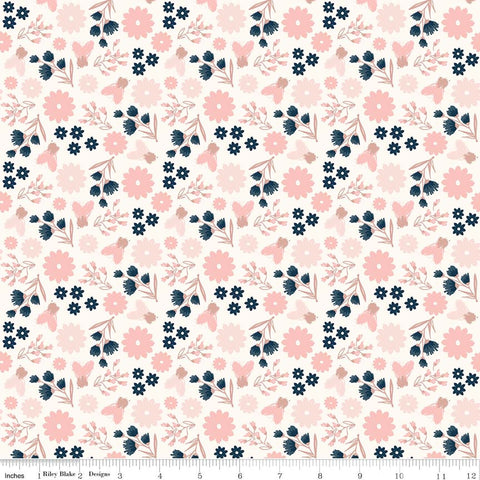SALE Blush Floral Cream SPARKLE - Riley Blake Designs - Rose Gold Flowers Pink Navy Metallic - Quilting Cotton Fabric - choose your cut