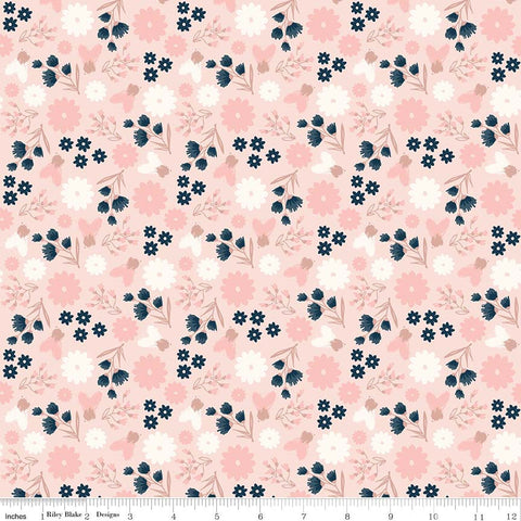 SALE Blush Floral Pink SPARKLE - Riley Blake Designs - Rose Gold Flowers Navy Cream Metallic - Quilting Cotton Fabric - choose your cut