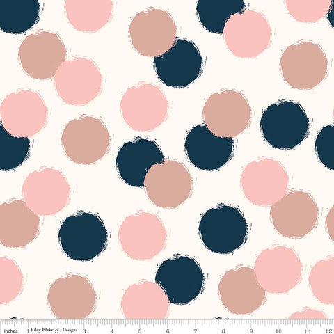 SALE Blush Puffs Cream SPARKLE - Riley Blake Designs - Dots Navy Pink Rose Gold Metallic - Quilting Cotton Fabric - choose your cut