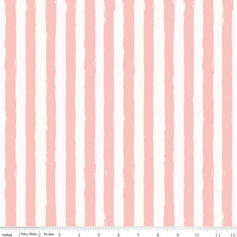 SALE Blush Stripe Cream - Riley Blake Designs - Pink Stripes - Quilting Cotton Fabric - choose your cut