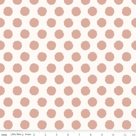 SALE Blush Dot Cream SPARKLE - Riley Blake Designs - Rose Gold Pink Metallic Polka Dots - Quilting Cotton Fabric - choose your cut