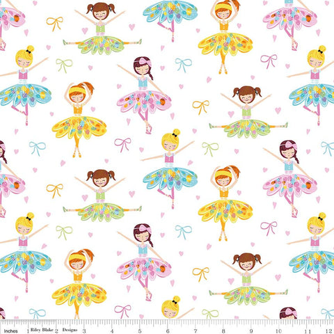 "Ballerina Bows Main White - Riley Blake Designs - Ballet Dancing Girls - Quilting Cotton Fabric - 24"" end of bolt"