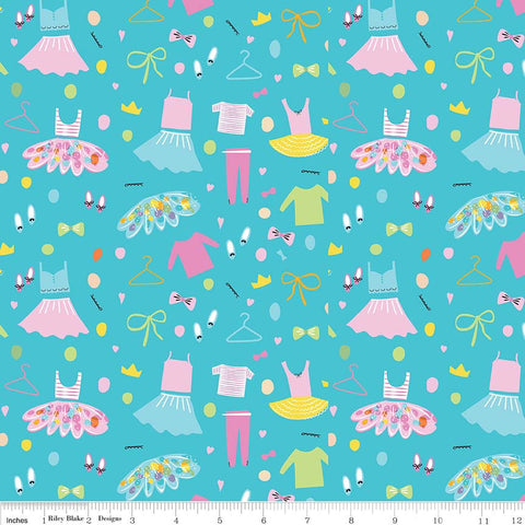 Ballerina Bows Wardrobe Aqua - Riley Blake Designs - Blue Ballet Dancing Clothes - Quilting Cotton Fabric - choose your cut