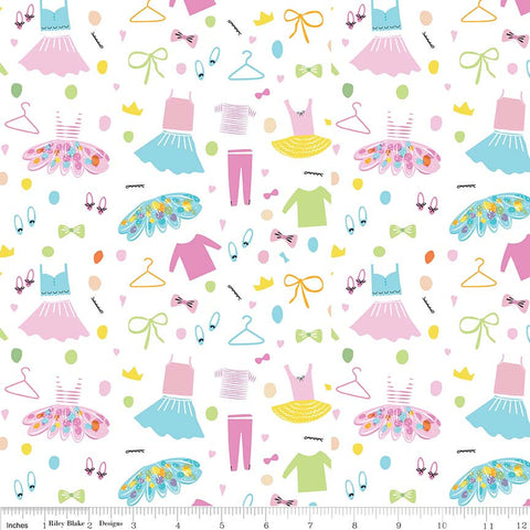 Ballerina Bows Wardrobe White - Riley Blake Designs - Ballet Dancing Clothes - Quilting Cotton Fabric - choose your cut
