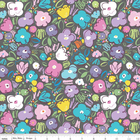 Ballerina Bows Floral Gray - Riley Blake Designs - Grey Flowers - Quilting Cotton Fabric